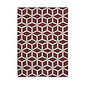 Think Rugs Hong Kong Red/Beige Tufted Rug - 80 cm x 150 cm (2 ft 8 in x 4 ft 11 in)