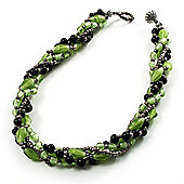 4 Strand Twisted Glass And Ceramic Choker Necklace (Black, Green & Metallic Silver)