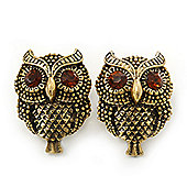 Vintage Inspired 'Owl' Stud Earrings In Antique Gold Plating - 28mm Length