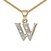 Jewelco London 9 Carat Yellow Gold Elegant Diamond-Set Pendant on an 18 inch Pendant Chain Necklace - Inital W