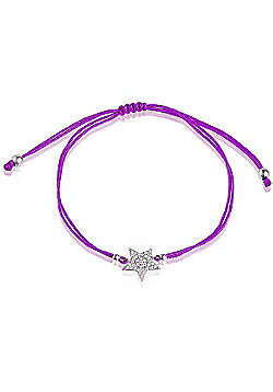 Purple string bracelet with silver pave star