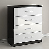 Birlea Lynx 4 Drawers Chest - Black and White
