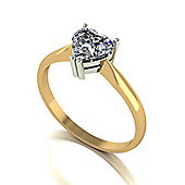 9ct Gold Solitaire ring set with a 6.5mm Heart Shaped Moissanite Stone equivelent 1.00ct