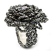 Metallic Silver Glass Bead Flower Stretch Ring
