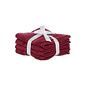 Luxury Hotel Collection Zero Twist Pack Of 4 Face Cloths In Red Velvet