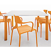Green Lord Q Square Table - 130cm - White / Orange
