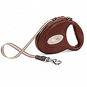 Flexi Luxury Leather Dog Lead Brown 5m