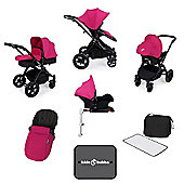 Ickle Bubba Stomp v3 AIO Travel System + Isofix Base + Mosquito Net - Pink (Black Chassis)