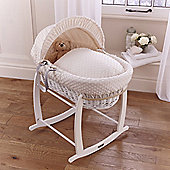 Clair de lune Dimple White Wicker Moses Basket - Cream