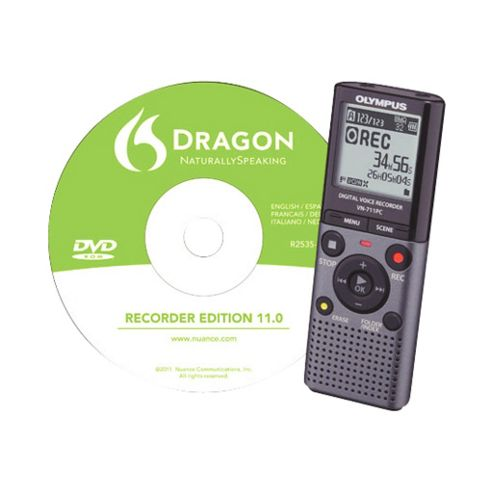Olympus VN-711PC Digital Voice Recorder with Dragon Naturally Speaking Software