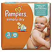 Pampers Simply Dry Size 3 Carry Pack - 30  nappies