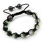 Emerald Green/Grass Green/Clear Swarovski Crystal & Hematite Beaded Shamballa Bracelet - Adjustable - 10mm Diameter