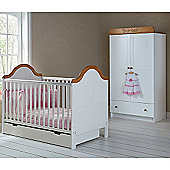 OBaby B is for Bear Cot Bed, Drawer & Double Wardrobe (White)