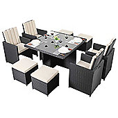 Luxan WGF-318 Port Royal Prestige Black Cube Table and Chairs - Seats 4
