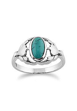 Gemondo Sterling Silver Turquoise Cabochon Leaf Design Ring