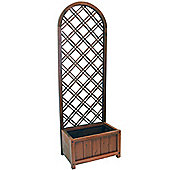 Arch - Solid Wood Rustic Trellis With Large Planter - Brown