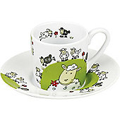 K?nitz Espresso Globetrotter - Sheep Cup and Saucer (Set of 4)