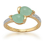 Gemondo Gold Plated Sterling Silver 1.34ct Jade & 3pt Diamond Two Stone Ring