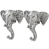 Elephant - Wall Mounted Double 2 Coat / Towel Hook - Silver