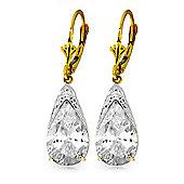 QP Jewellers 10.0ct White Topaz Snowcap Earrings in 14K Gold