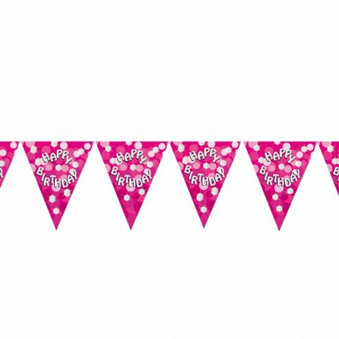 Party - Pink Sparkle Party Happy Birthday Flag Banner - Amscan