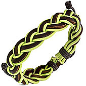 Urban Male 'Tropic' Braided Men's Green Cord & Brown Leather Surfer Bracelet