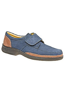Pavers Touch Fasten Leather Shoe with Wide Strap Brown Suede - 10 - Blue
