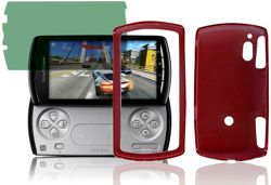 Sony Ericsson Xperia Play R800i U-bop gSHELL Tough All-Body Case Smoke Red and dGUARD Screen Film Reflect