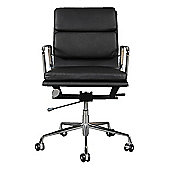 EA217  Low Back Soft Pad Black Leather Office Chair