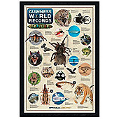 Guinness Book of World Records Black Wooden Framed Extraordinary Creatures Poster