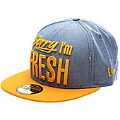 New Era Cap Co Sorry Im Fresh Blue Chambray/Athletic Gold Fitted Cap Size: 7 1/8 inch