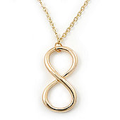 Polished Gold Plated 'Infinity' Pendant Necklace - 44cm Length/ 7cm Extension