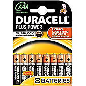 Duracell AAA LR03 Plus Power Batteries (Pack of 8)