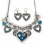 Burn Silver Hammered Charm 'Teal Green Heart' Necklace & Drop Earrings Set - 38cm Length/6cm Extension