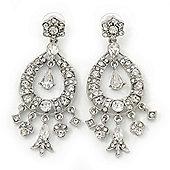 Bridal, Prom, Wedding Clear Austrian Crystal Chandelier Earrings In Rhodium Plating - 75mm Length