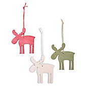 Set of Three Hanging Wooden Reindeer Christmas Tree Decorations