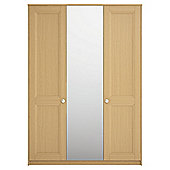 Modular Oak 3 Door Wardrobe with Oak Shaker and Mirror Doors