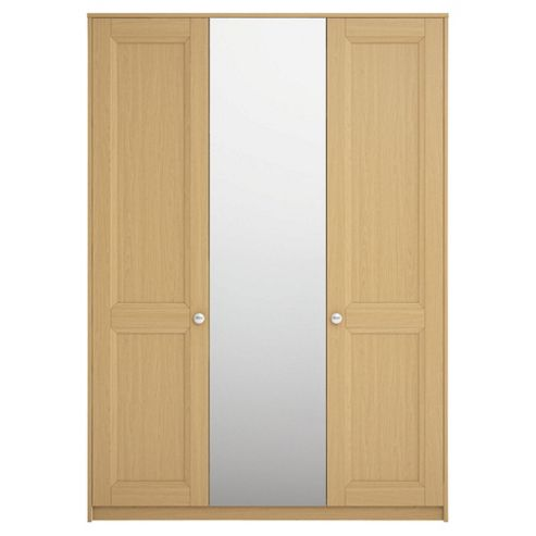 Adria Tall Oak Triple Wardrobe With Tall Oak Shaker And Mirror Doors