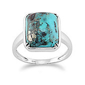 Gemondo Sterling Silver 5.00ct Turquoise Cabochon Baguette Claw Set Single Stone Ring