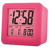 Acctim Vanos Pink Rubber Cube Alarm Clock