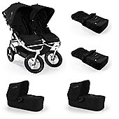 Bumbleride Indie Twin Stroller and 2 x Carrycots/Footmuff Bundle Jet Black
