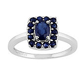 Gemondo Sterling Silver 0.89ct Natural Blue Sapphire Classic Oblong Cluster Style Ring