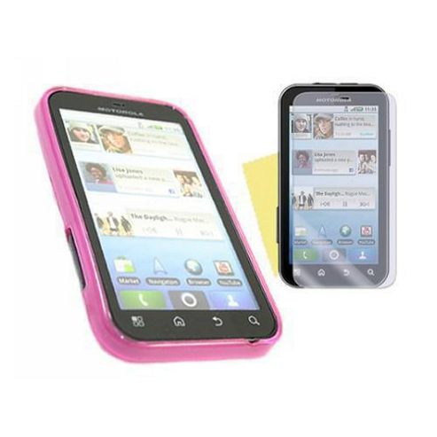 Pink Twin Pack ProGel Skin Case & LCD Screen Protector - Motorola Defy MB525