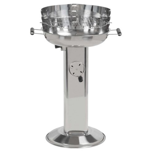 Tesco Stainless Steel Round Charcoal Pedestal BBQ