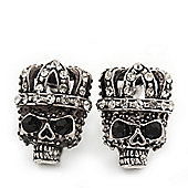 Small Diamante 'Skull In The Crown' Stud Earrings In Burn Silver Finish - 17mm Length