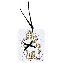 Luxury Gold Glitter Reindeer Christmas Gift Tags, 3 pack