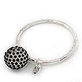 Unique Hammered Crystal Ball Bangle In Silver Plating - 18cm Length