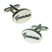 Silver Satin Oval Groomsman Wedding Cufflinks