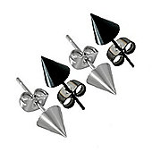 Urban Male Two Pair Set Of Men's Black & Steel Finish Spike Stud Earrings