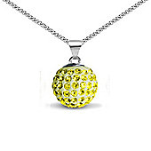Jewelco London Sterling Silver Crystal Yellow Solitaire 12mm Pendant - 18 inch Chain